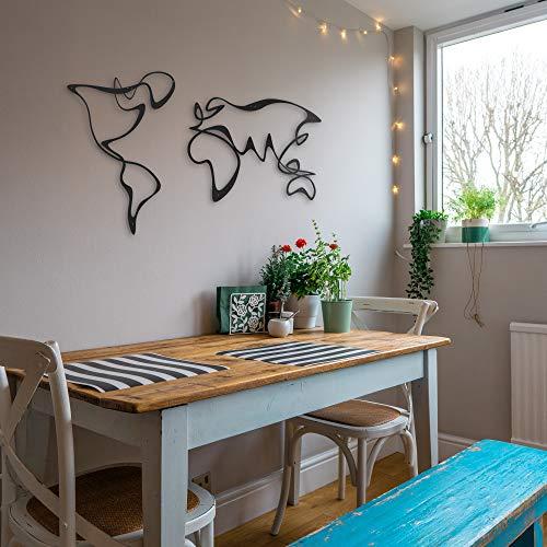 Verden, diseño único mapa del mundo de metal, arte geométrico, decoración de pared para oficina, hogar, negro, 47 x 27 cm