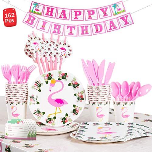 Dsaren 162 Teiliges Flamingo Party Set Kinder Partygeschirr Teller, Becher, Banner, Strohhalme, Utensilien, Servietten, Tischdecke, Einladungskarte für 20 Personen Geburtstags Deko