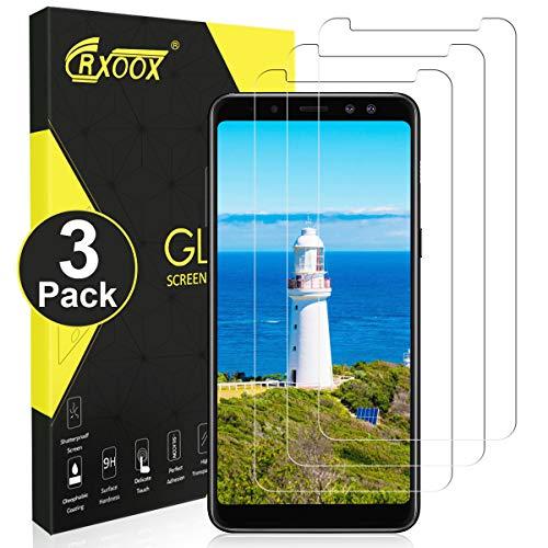 CRXOOX 3 Stück Panzerglas Schutzfolie für Samsung Galaxy A8 2018, [Anti-Kratzer/Anti-Öl] [Einfache Installation] [Blasenfrei] [3D Touch/9H Festigkeit] - für Samsung Galaxy A8 2018 - Transparent