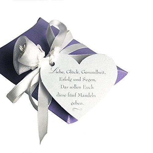 Weddix 30 Anhänger Gastgeschenke Hochzeit weiß mit Hochzeitsmandel Spruch Bedruckt Herz-Anhänger Geschenke