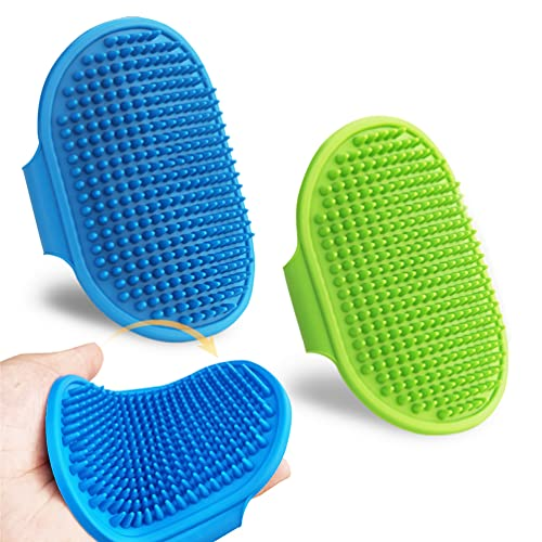 2 Pcs Dog Grooming Brush, Pet Shampoo Bath Brush Soothing Massage Rubber Comb,Adjustable Ring Handle, Suitable for Long Short Haired Pet.