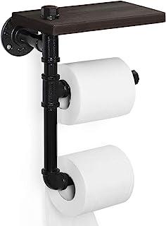 Toilet Paper Holder,Rustic Tissue Paper Roll Holder Wall-Mounted Wooden Shelf, Iron Metal Pipe Holder for Bathroom, Washroom,black