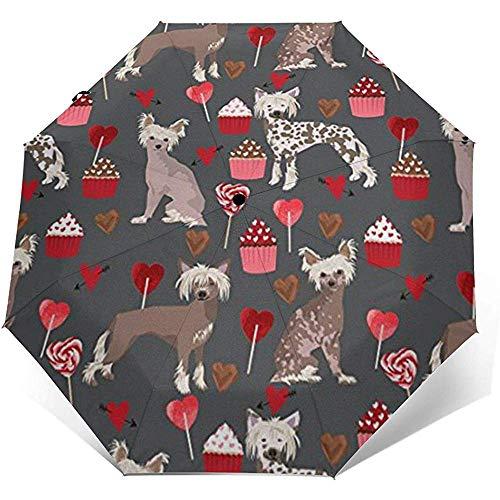 Chinesischer Schopfhund Valentines Cupcakes Reiseregenschirm Sonnenschirm-Leichter winddichter Sonnenschutz-Regenschirm-Auto-Öffnungs- und Schließknopf
