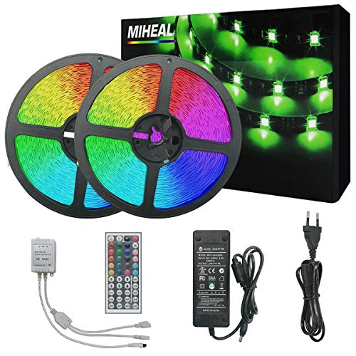 Miwatt Led Strip Lights Kit 30m 450 leds 5050 SMD RGB LED Flexible Lights with 44key ir Controller and Power Supply for Home,Kitchen,Trucks,Sitting Room and Bedroom Decoration