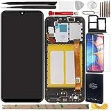 YHX-O 5.8' para Samsung Galaxy A20E SM-A202F de reparación y sustitución LCD pantalla táctil digitalizador con herramientas incluidas + 1 pieza cristal templado + 1 SIM Card Tray (negro + marco)
