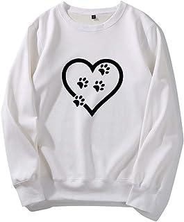 Guesthome Sweatshirt Women's Loose O Neck Long Sleeve Cat Footprints Casual Blouse Tops