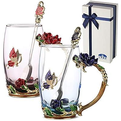 BTaT- Tea Cups, Pack of 2, Glass Tea Cup, Tea Cup, Fancy Tea Cups, Gifts for Women, Tea Mugs for Women, Flower Tea Cup, Blown Glass, Tea Cup Gift, TeaCup, Tea Sets for Women, Gift Ideas for Women