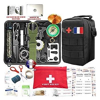Kit de survie d'urgence 88 en 1 [ Nouveau Model 2021 ] Avec Trousse de Premiers Secours,Couteau de Survie,Lampe de Poche,Allume Feu,Boussole,camping,Paracorde pour randonnée etc Normes CE, FDA , BSCI