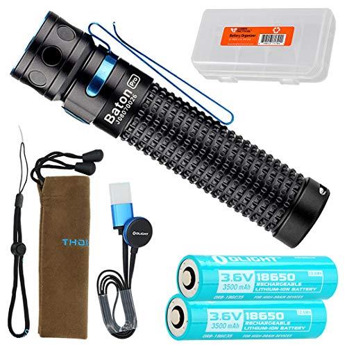 Olight Baton Pro 2000 Lumen Rechargeable EDC LED Flashlight with Extra Custom 3500mAh Olight Battery and LumenTac Battery Organizer
