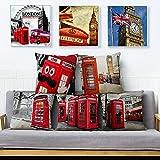 Funda de cojín Juego de 5 Piezas Funda de Almohada de Lino para sofá London Street View Bus Cabina de teléfono roja Patrón de Big Ben Funda de Almohada para decoración del hogar 45X45Cm