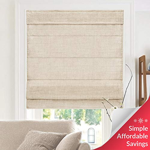 CHICOLOGY, Belgian Flax Cordless Roman Shades, 31' W X 64' H, (Privacy & Light Filtering)
