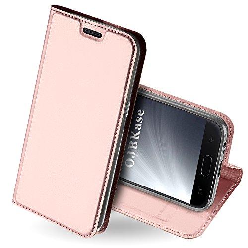 OJBKase Galaxy J4 2018 Hülle, Premium Slim PU Leder Handy Schutzhülle [Standfunktion] Hülle/Cover/Brieftasche/Ledertasche Tasche Lederhülle Handyhülle für Samsung Galaxy J4 2018 (Roségold)