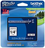 Genuine Brother 1/4' (6mm) Black on Clear TZe P-Touch Tape for Brother PT-6100, PT6100 Label Maker
