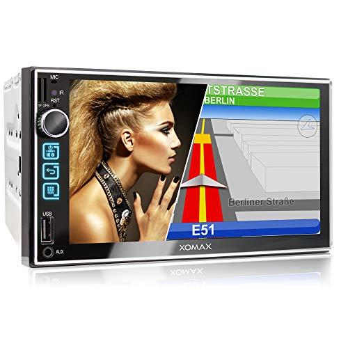 XOMAX XM-2VN752 Autoradio mit Mirrorlink, GPS Navigation, Navi Software, Bluetooth Freisprecheinrichtung, 7 Zoll / 18cm Touchscreen Bildschirm, FM Tuner, SD, USB, 2 DIN