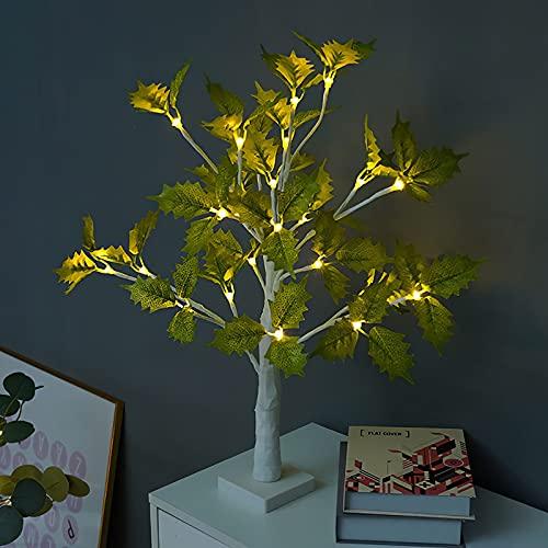 SJHP Árbol Bonsái Lámpara de Mesa LED de la Flor del Árbol de la Luz de Escritorio DIY Bateria Cargada Forma de Hoja Realista para el Hogar Dormitorio Escritorio Fiesta Boda