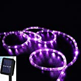 longdafeiUS Solar Rope String Lights, Copper Tube Wire String Lights with 39ft/12M 100LED Waterproof for Outdoor Garden Wedding Party Christmas Xmas Decoration (Purple)