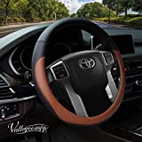 Valleycomfy Microfiber Leather Steering Wheel Cover Large-Size for F150 F250 F350 Ram 4Runner Tacoma Tundra Range Rover Model S X with 15 1/2 inches-16 inches Outer Diameter (Brown)