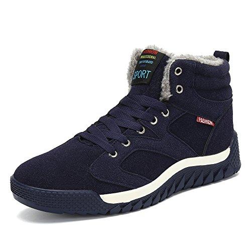 SAGUARO Hombre Botines Zapatos Botas De Nieve Invierno Cortas Fur Aire Libre Boots (39 EU, Azul)