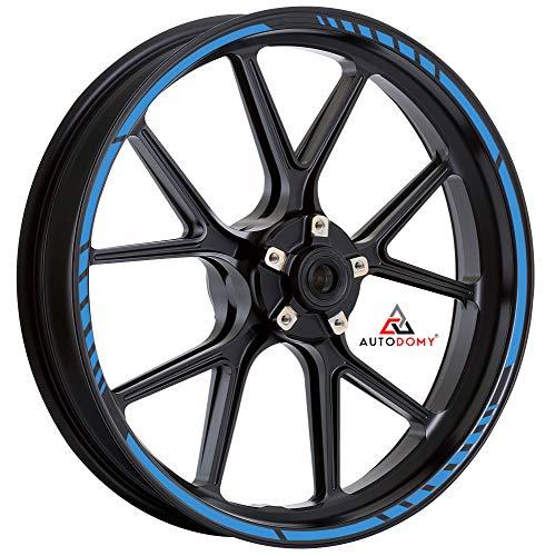 Autodomy Pegatinas Llantas Moto Juego Completo para 2 Llantas de 15' a 19' Pulgadas Diseño Sport (Azul Claro)