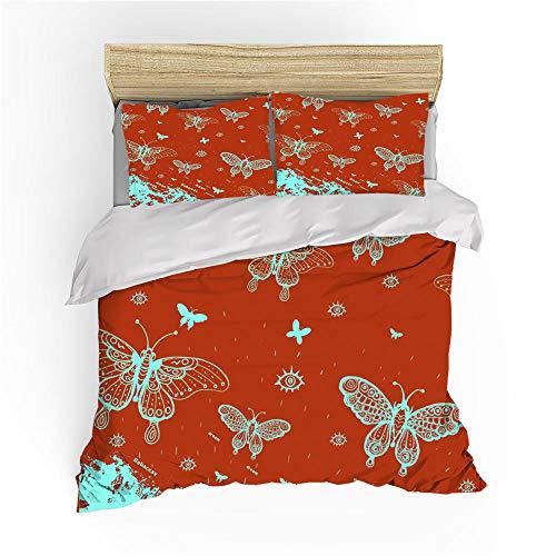 MOUPSDT 3D Drucken Bettbezug Bettwäsche-Set Orange grüner Blauer Schmetterling Mikrofaser Bettbezug 155x220 cm 2 Kissenbezug 80x80 cm Kinder Jungen Girl Teenager Bettwaren