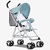 Cochecito de bebé súper transpirable de acero inoxidable, cochecito de bebé plegable de 8 ruedas, cochecito de bebé ultra ligero portátil cojín de lino sillas de bebé (color: azul)