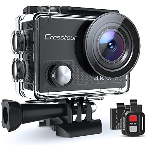 Crosstour Action Cam CT9000, 4K WiFi Telecomando, Impermeabile 40M Videocamera Subacquea, Stabilizzazione Fotocamera 19 Accessori Grandangolo 170°