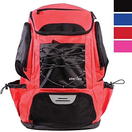 Athletico Swim Backpack - Badetasche mit nassen und trockenen Fächern zum Schwimmen, am Strand, Camping - Pooltaschen inklusive Laptoptasche (rot)