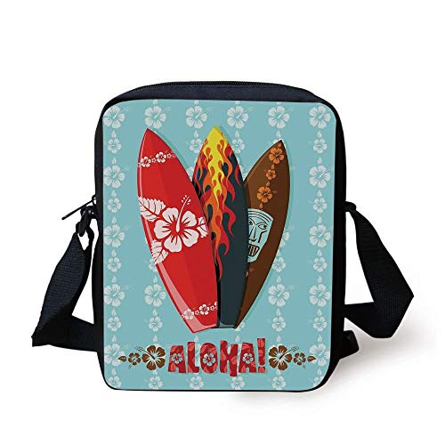 Surf,Illustration of Modern Aloha Surfboards with Hibiscus Tribal Mask Flame Extreme Sports,Multicolor Print Kids Crossbody Messenger Bag Purse