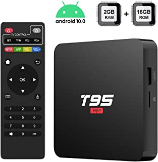 Android 10.0 TV Box, [2020 Newest] TUREWELL T95 Super TV Box Allwinner H3 Quad-Core 2GB RAM 16GB ROM Media Player, 3D 4K H.265 Smart Android TV Box