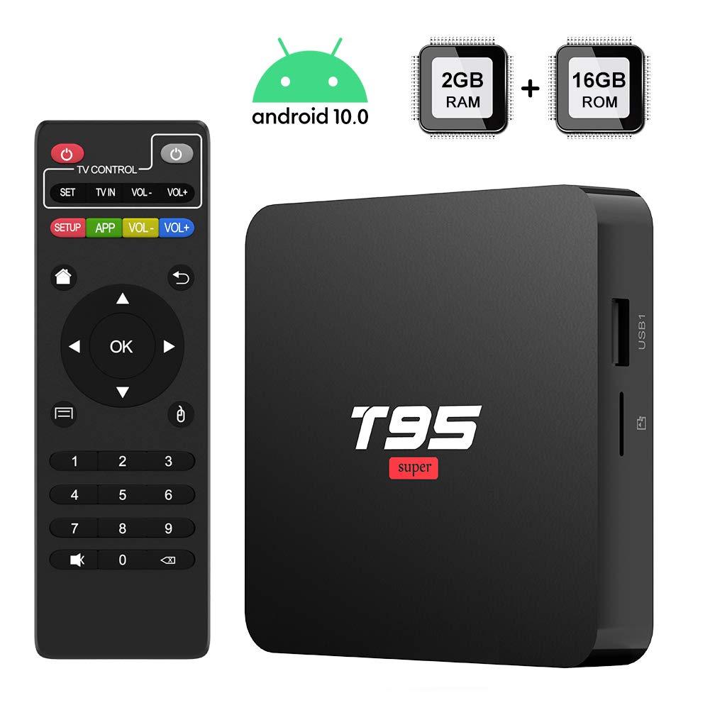 Android 10.0 TV Box, [2020 Newest] TUREWELL T95 Super TV Box Allwinner H3 Quad-Core 2GB RAM 16GB ROM Media Player, 3D 4K H.265 Smart Android TV Box
