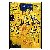 ストリートグラフィティアートポスター画像印刷、現代抽象アートジャン・ミシェルバスキア壁絵の装飾、キャラクターの肖像画キャンバス絵画ホームオフィススタジオの壁の装飾,70×100cm