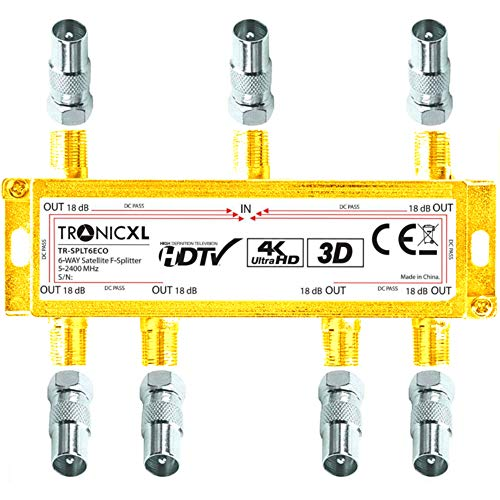 TronicXL 4K Sat Splitter 6-Fach BK Verteiler 3D / HD TV tauglich/DC-Durchlass/Kabel Antennenverteiler Kabelfernsehen DVBC zb für kompatibel mit PYUR Telecolumbus Primacom Vodafone Unitymedia UKW