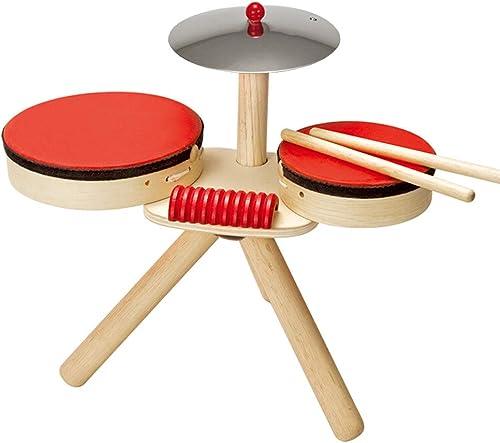LINGLING-Trommel Trommel Percussion Spielzeug Geschenk Holz mädchen Junge 2-5 Jahre alt (Farbe   Beige)