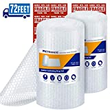 Metronic 3/16' Small Bubble Roll- Perforated 12x12, 2 Rolls 72 Ft Air Bubble Cushioning Roll, Included 20 Fragile Sticker Labels for Packing Moving Shipping Boxes Supplies