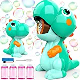 EduCuties Bubble Machine for Kids, Dinosaur Toys Automatic Bubble Blower Maker with Solutions for Toddlers Ages 4-8 Outdoor Toy for 1-3 2-4 4-8 Boys Girls Birthday Gift Present- Green