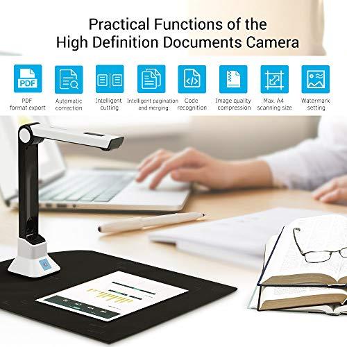 Fesjoy Dokumentenkamera BK50 Portable 10-Megapixel-Hochauflösungsscanner, Erfassungsgröße A4, Dokumentenkamera für Kartenpassdatei, Dokumentenerkennungsunterstützung 7 Sprachen Deutsch/Russisch /