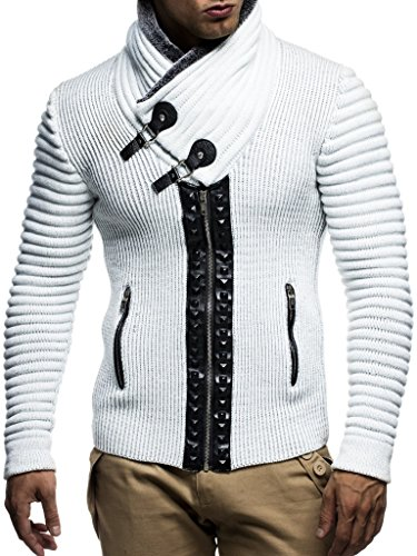 Leif Nelon LN5165 Men's Cardigan with Stud Details and Zip Front; Size US L, Ecru Grey