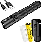 NITECORE NEW P12 1200 Lumen Tactical Flashlight and 5000mAh USB C Rechargeable Battery with NTH10 Holster and LumenTac Battery Case