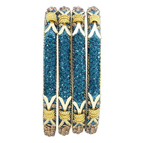 Efulgenz Indisches Armreif-Set im Bollywood-Stil, Strass-Kristall-Armband, Schmuck-Set für Frauen und Mädchen, 2.8, Metall Stein Kupfer,