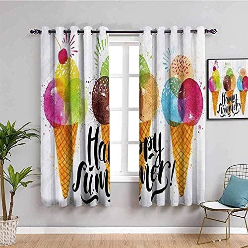 GJJHR Cortina para Ventana Cortinas Termicas - Color cono helado fruta - 180x180 cm - Cortinas Habitacion Bebe Diseño Cortina para Balcon Salón Habitación y Cámara