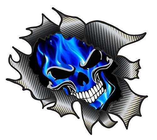 Classic Carbon Rip Ripped Torn Metal Design With Electric Blue Flames...