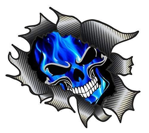 sticker licker Classique Carbone Rip Métal Déchiré Design avec Bleu Électrique Flammes Gothique Skull Motif Vinyle Autocollant Voiture 105x130mm