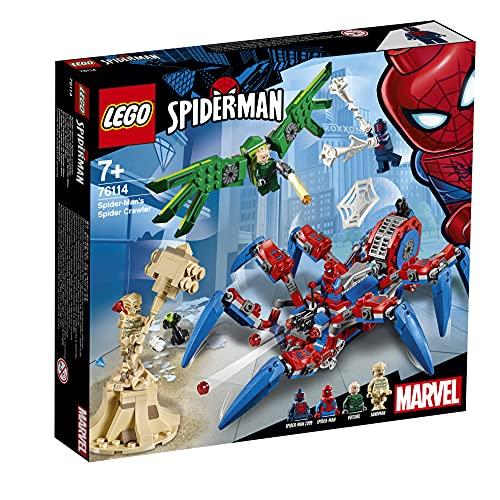 LEGO Super Heroes Reptadora de Spider-Man, juguete de construcción para recrear las aventuras del Superhéroe, incluye un vehículo con forma de Araña y varios villanos (76114)
