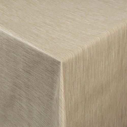 Tischdecke Wachstuch RUND ECKIG OVAL in verschiedenen Größen abwaschbar Meterware einfarbig Uni Wachstischdecke beige