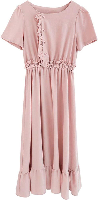 MSNZS Dresses Waist Short Sleeve Cute Dress