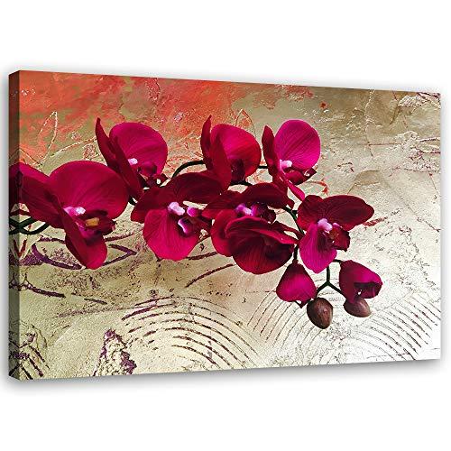 Feeby Leinwandbild XXL Orchideen Wandbild Kunst Pflanzen Rot 120x80 cm