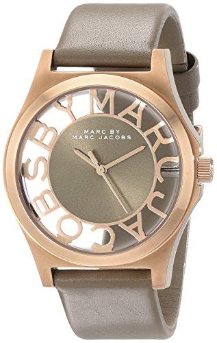 Marc Jacobs MBM1245–Orologio per Donna con cinturino in acciaio/Pelle, Colore: Beige/Grigio