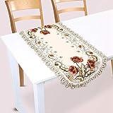 Mantel de camino de mesa bordado, flor roja floral, cubierta de mesa hueca, decoración de mesa para comedor, fiesta de bodas, hotel, decoración del hogar(rectangle)