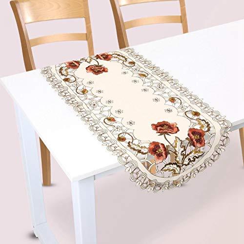 Mantel de camino de mesa bordado, flor roja floral, cubierta de mesa hueca, decoración de mesa para comedor, fiesta de bodas, hotel, decoración del hogar(Oval)