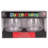 Super Mario | Juego De Vasos De Agua- Vaso Set 2 Piezas De Cristal - Vaso Clásico Con Grabado Para Licores, Cócteles Y Zumo - 510 Ml